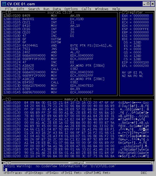 Внешний вид отладчика Code View (png 19,021b).